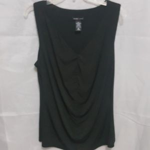 Plus Sz NY & Co V-Neck Ruched Blouse in Black